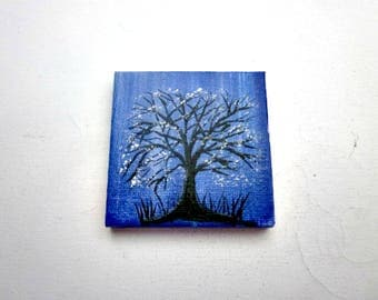 Magnet, Mini Canvas Hand Painted Refrigerator Magnet, Black Tree, White Leaves, 3X3 Magnet