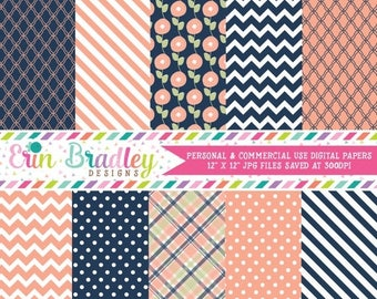 50% OFF SALE Peach and Navy Blue Digital Paper Set Commercial Use Instant Download