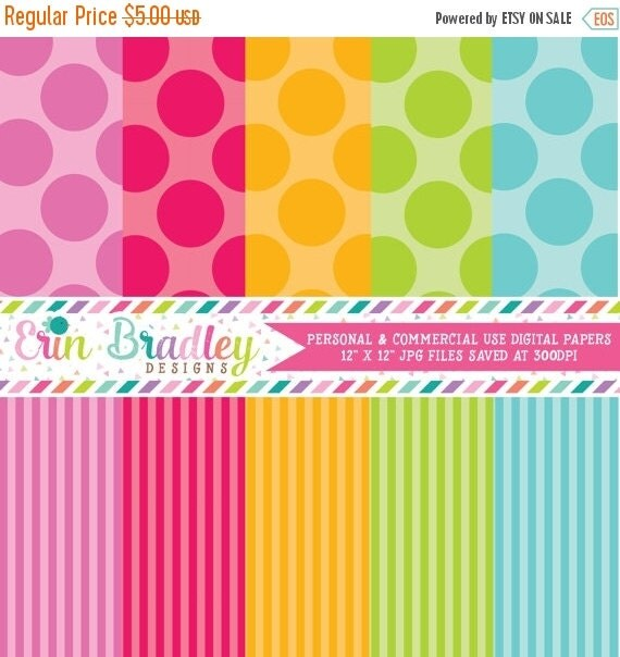 60% OFF SALE Digital Scrapbook Paper Personal and Commercial Use Colorful Polka Dots and Stripes