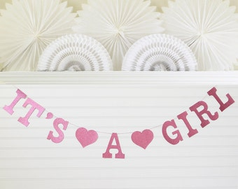 Glitter It's a Girl Banner - 5 Inch Letters - Girl Baby Shower Garland Baby Girl Decorations Its A Girl Garland Pink Glitter Baby Banner