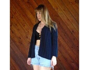 25% off Flash Sale . . . Navy Blue Cable Knit Cardigan - Vintage 90s - Medium Petite
