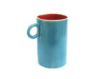 festive hand built porcelain cup ...  happy turquoise and red ceramic mug