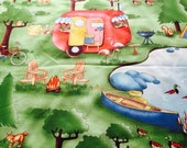 camper fabric | tiny home | retro camper | camp scene | lake view fabric Paper Dolls camping 'On the Road' c5150 Penny Rose Fabrics