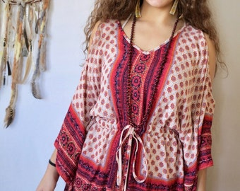 Boho Tapestry Print Poncho Dolman Batwing Sleeve Open Shoulder Peep Shoulder Blouse/Shirt/Top Upcycled Hippie Gypsy Recycled Womens One Size