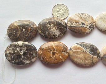 Natural Brioche Agate Beads, 30x 40mm Smooth Oval Beads, Jewelry Supplies