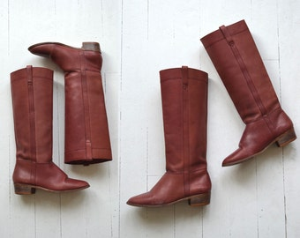 Oxblood Riding boots | vintage 1970s leather boots | tall leather boots 6