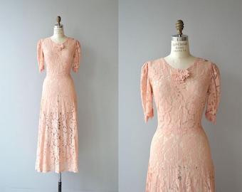 Joulette gown | vintage 1930s lace dress | long 30s dress