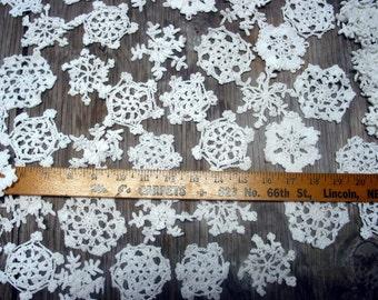 "100 Hand Crochet White Christmas Snowflakes Motifs Doilies Ornaments 3"" Cotton,Tea Party, Vintage Wedding,free US shipping"