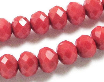 "16"" Faceted Rondelle Glass Beads-OPAQUE RED 5x7mm (70)"