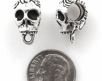 TierraCast Pewter Large Hole Euro Bails-ANTIQUE SILVER SKULL (2)