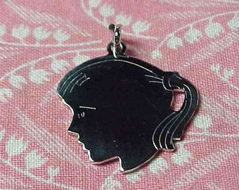 ONE Vintage Sterling Girls Head Profile with Pony Tail hair Silhouette Charm