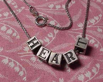 """Vintage 925 Sterling """"Heart"""" alphabet Letter Beads 16 inch Box chain Necklace"""