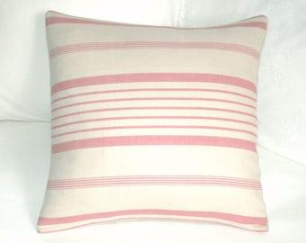 """Kate Forman - Ticking Stripe -  Linen cushion / throw pillow cover - UK Designer  - Pink Herringbone Ticking  -   16"""" x 16"""""""
