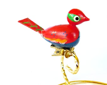 Vintage Miniature Painted Wood Red Bird Ornament with Clip Italy Wood Figurine Hand carved Collectible Italian Folk art