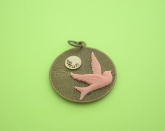 DREAM Large Brass Pendant with Sterling Silver Charm and Lucite Pink Bird