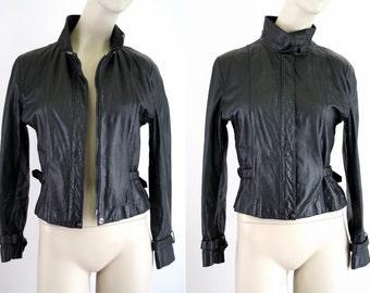 Foxmoor Vintage Black Leather Woman's Moto Jacket