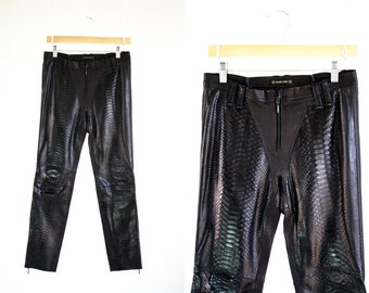 Vintage 90's Plein Sud Black Leather Low Waist Zip Front Tapered Leg Fitted Sexy Woman's Retro Leather Pants