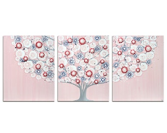 Girls Canvas Art Pink and Blue Tree Triptych Wall Painting - Large 50x20