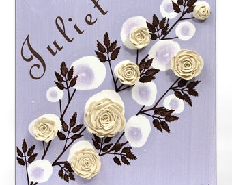 Custom Name on Canvas Art with Sculpted Roses - Gift for Girl Purple and Brown Acrylic Painting of Flowers - Small 10x10