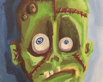 Zombie Acrylic 11/14 Canvas Painiting
