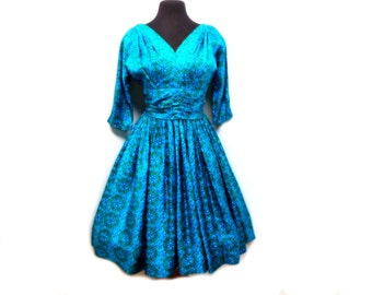 Vintage 50s Dress Turquoise Blue Cobalt Silk Mandala Ruched Pleated Floral Full Party Dress