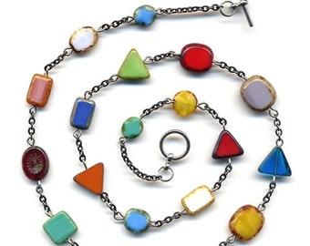 SALE OOAK Mod Necklace, Multi Color and Shapes Necklace, Rare Czech Glass Necklace, Jewelry by AnnaArt72