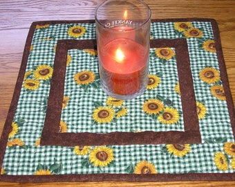 Quilted Table Runner / Sunflower Topper, 13 1/2 x 13 1/2 inches