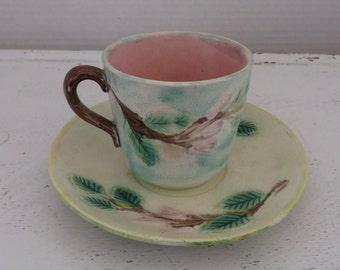Antique Majolica Cup/Saucer