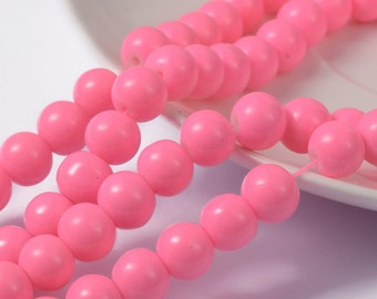 "Pink ""Cotton Candy"" Painted Glass Beads - 8mm - Sold per strand - #GBS"