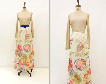 60s Gold Maxi Dress 60s Vintage Dress Metallic Gold Dress 1960s Lurex Dress Vintage Floral Maxi 60s Coral Pink Dress m