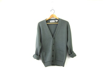 1980s Button Down Sweater Gray Boyfriend Cardigan Grandpa Sweater Basic Grunge Plain Simple Knit Vintage Mens size Large