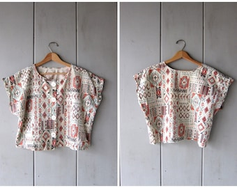 Tribal Print Top Vintage Cropped Cotton Tee Boho Button Up TShirt Crop Top Boxy Cap Sleeve Blouse Southwestern Hipster Womens Medium Large