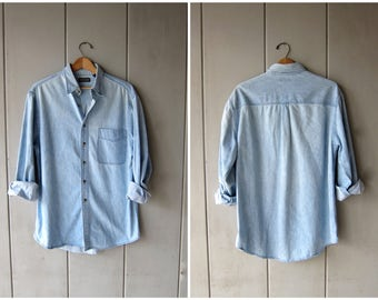 Vintage 90s Jean Shirt Oversized Button Up Washed Out Faded Slouchy Denim Shirt Hipster Minimal Boho Bleached Chambray Shirt Mens Medium