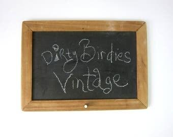 Small Black SLATE Chalkboard Children's Wall decor Kitchen Note List Hanging Vintage Decor Cottage Chic Estate Sale