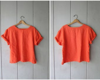90s Salmon Orange Linen Blouse Cropped Linen Top Minimal Modern Boxy Tee Slouchy Loose Fit TShirt Vintage Womens Large