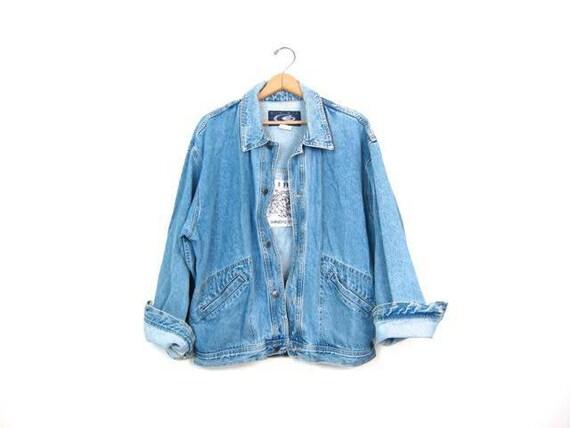 Denim Trucker Jacket 80s Oversized Jean Jacket AMERICAN FLAG Light Wash Denim Jacket DES Worn Blue Slouchy Mens Jean Jacket Large