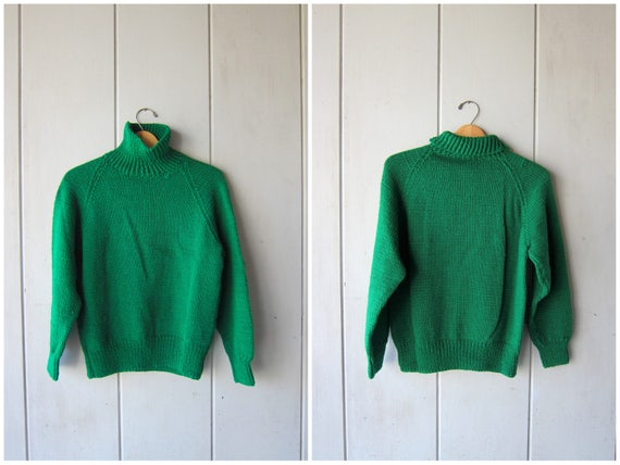 Chunky Knit Sweater Thick Green Knit Turtleneck Bulky Knit Pullover Cozy Hand Woven Spring Sweater Mock Neck Womens Small Medium