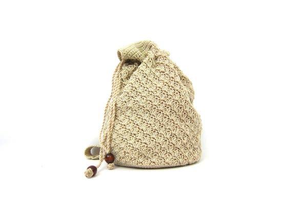 Vintage 90s Woven Purse Chic Drawstring Bucket Bag Minimal Off White Khaki MInimal Shoulder Purse Preppy Hipster Tote
