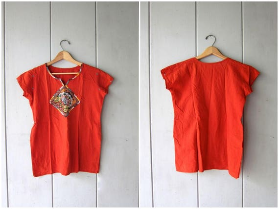 Indian Boho Top Burnt Orange Thin Cotton Ethnic Shirt Embroidered Beaded MIRROR details Shirt Bohemian Festival Shirt Womens XS