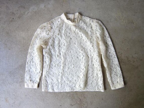 Sheer Cream Lace Blouse 90s Victorian LOLITA Edwardian Top Sexy Long Sleeve White Blouse Boho Secretary Goth Shirt Vintage Womens Medium
