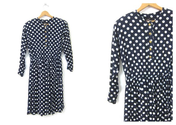 Vintage 1980s blue and white polka dot Dress Hipster Tea Party dress Gold Button Front Modern Day Rayon Dress Women's Size Medium