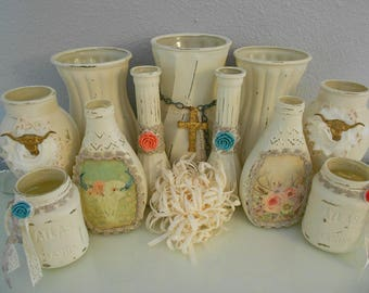 Shabby Chic Vases, Gypsy Cowgirl Vases, Painted Vases, Glass Vases, Wedding Vases, Bohemian Vases, Rustic Vases, Ivory Vases, Party Vases