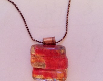 Upcycled Window Glass Pink and Gold Necklace - CUSTOM MADE ITEM