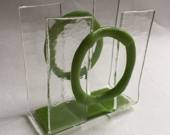 Glass clear and opalescent lime green Napkin or Mail Holder - CUSTOM MADE ORDER