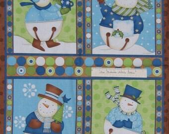 "Christmas Fabric - Jingle Bell Snowmen Snowman Wallhanging Wilmington 23"" Panel"
