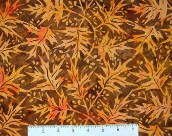 Bali Batik Fabric - Orange Fall Autumn Leaves - Princess Mirah Quilt Cotton YARD
