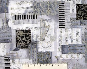 All That Jazz Fabric - Gray Metallic Instrument Patch - Robert Kaufman YARD