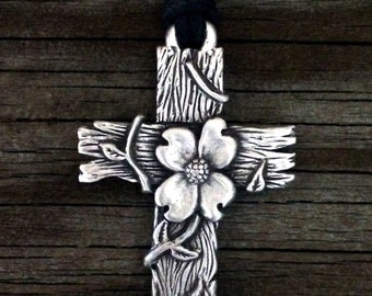 Dogwood Cross Pewter Pendant | Religious Jewelry | Cross Jewelry | Christian Jewelry | Handcrafted Jewelry | by Treasure Cast Pewter