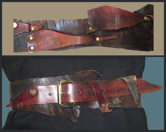 SCRAPPY-Hippie Artisan Wide Riveted Leather Scrap Cinch Belt,Waist or HIp Belt,Vintage Accessories,Women