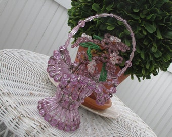 Vintage Beaded Basket *  Shabby Chic Cottage * Lilac Beaded Flowers